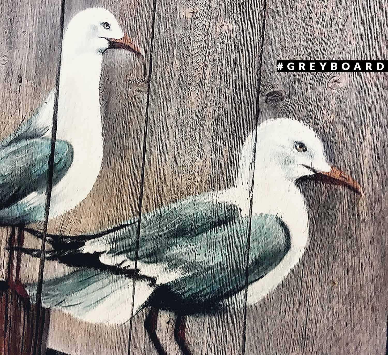 Панно из амбарной доски с чайками