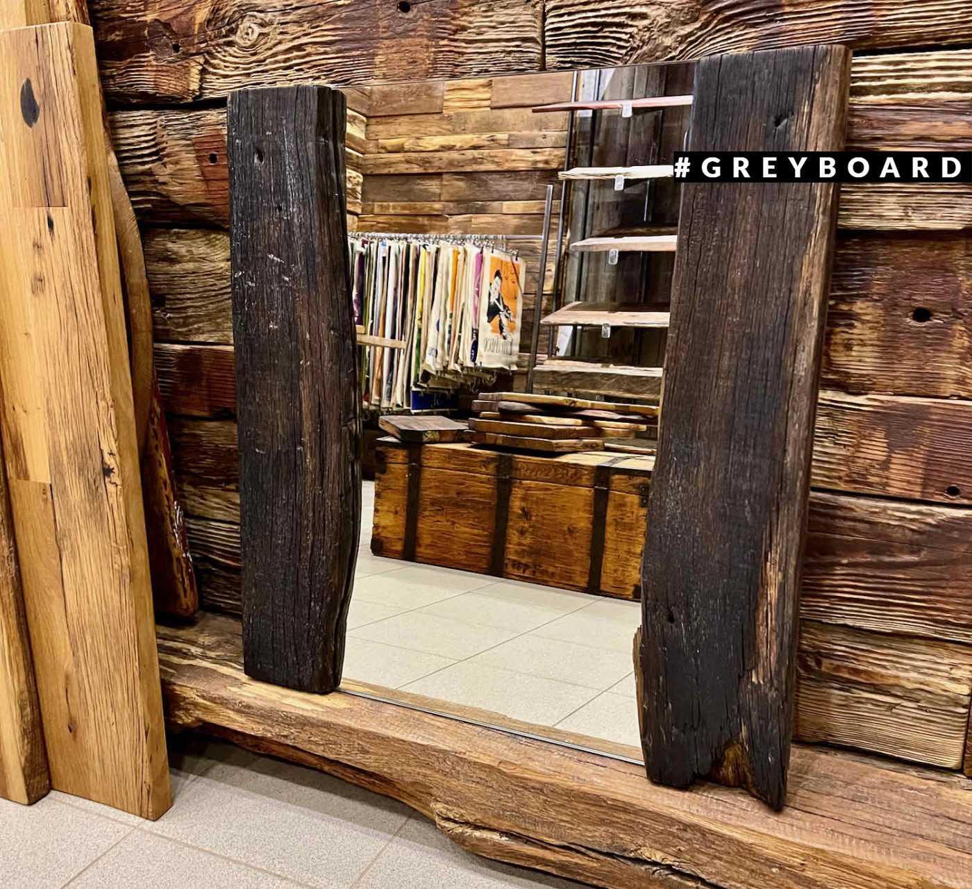 Эффектное зеркало из старой доски